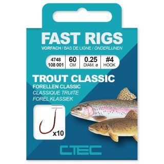 SPRO C-Tec Fast Rigs Trout Classic Gr.4 60cm 0,25mm 10Stk.